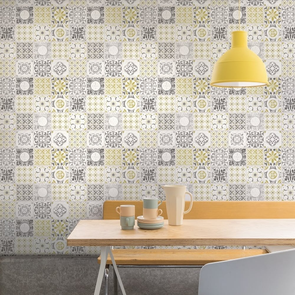 Grandeco Porto Floral Pattern Wallpaper Baroque Motif Kitchen Bathroom A22901 Yellow I Want