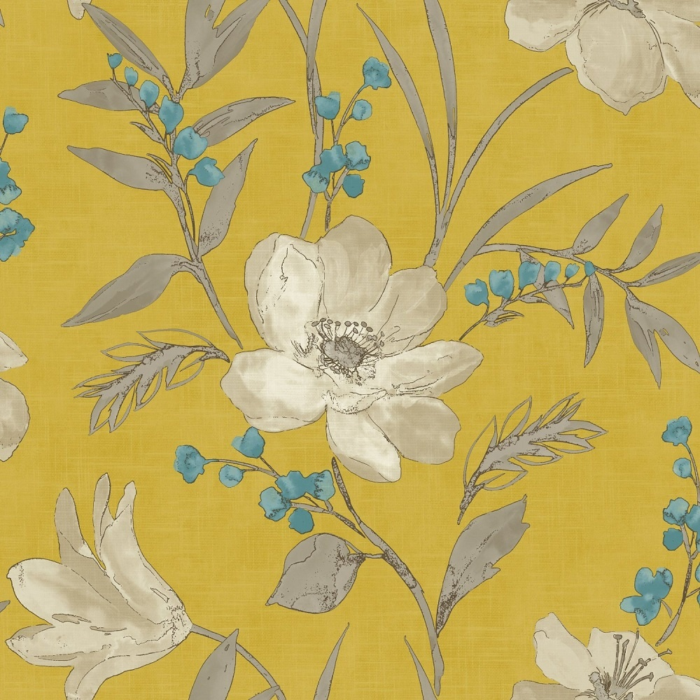 Grandeco royal house elise floral metallic wallpaper yellow 922093 - Gray and yellow wallpaper ...