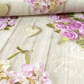 Grandeco Vintage Hearts Wood Beam Pattern Rose Floral Motif Wallpaper A14502
