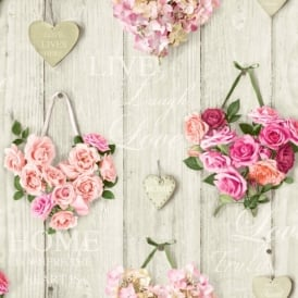 Grandeco Vintage Hearts Wood Beam Pattern Rose Floral Motif Wallpaper A14503