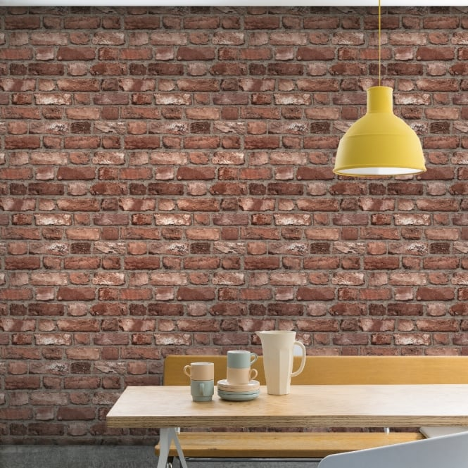 Textured Wallpaper For Bathrooms 2017: Grandeco Vintage House Brick Pattern Wallpaper Faux Effect