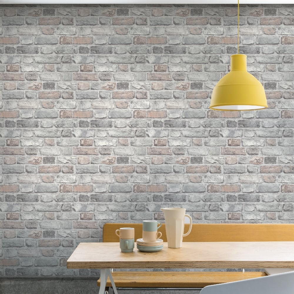 Grandeco vintage house brick pattern wallpaper faux effect for Plain kitchen wallpaper