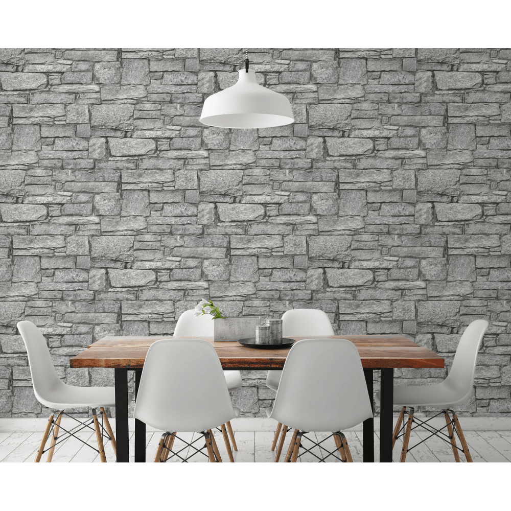 Grandeco Grandeo Chalet Stone 3d Effect Realistic Stone Slate Smooth Wallpaper A37001