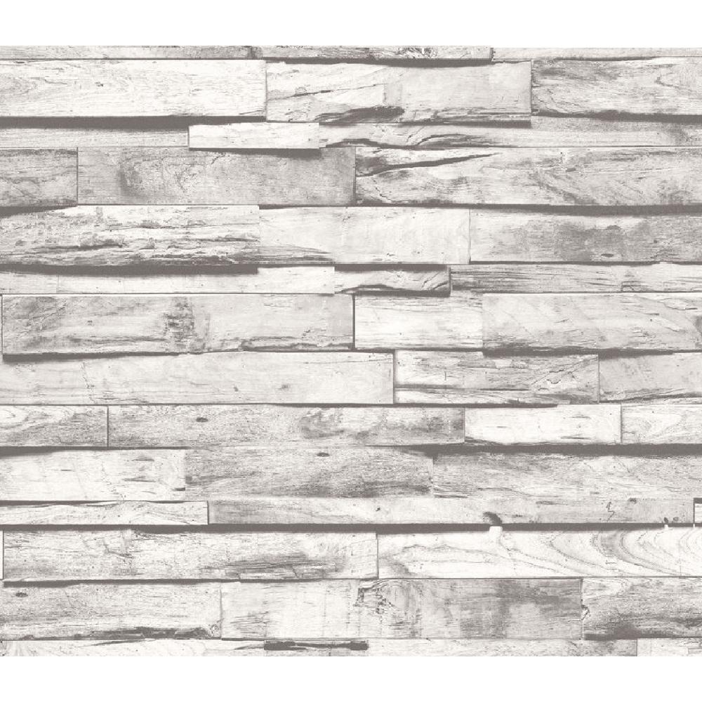 P S International Grey Wooden Beam Pattern Realistic Vintage Striped Cottage Wallpaper 02472 40