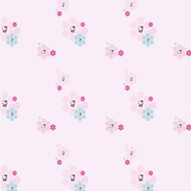 Hello Kitty Fashion Flowers Pink Blue Children's Girls Wallpaper DF01597
