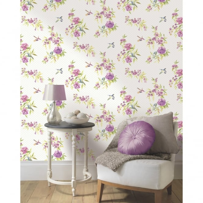 Holden Decor Holden Amaya Floral Pattern Flower Humming Bird Motif Metallic Wallpaper 11482