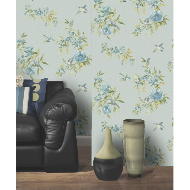 Holden Decor Holden Amaya Floral Pattern Flower Humming Bird Motif Metallic Wallpaper 11483