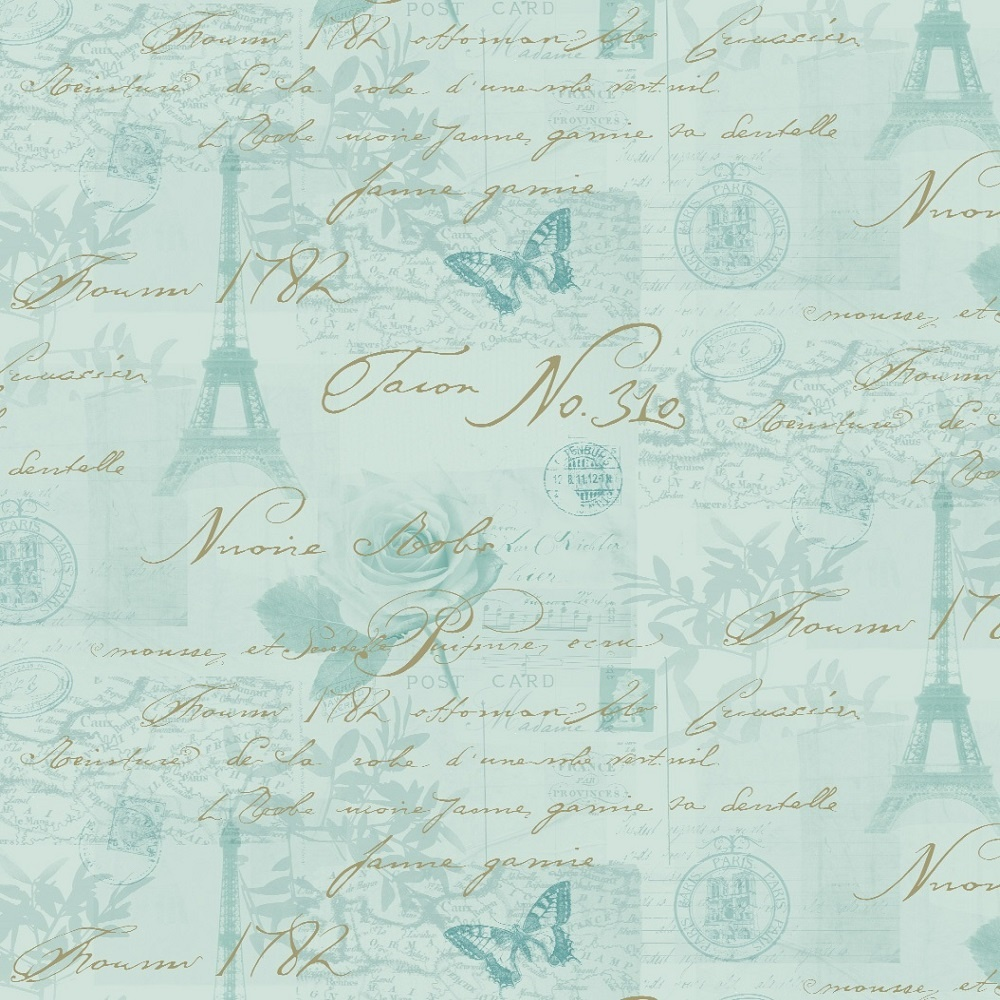 Holden calligraphy paris vintage french postcard wallpaper for Old french wallpaper