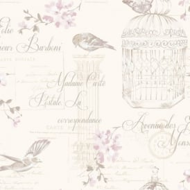 Holden Décor Aviary Birds Floral Motif French Typography Wallpaper 11319