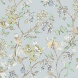 Holden Décor Damsen Floral Pattern Bird Countryside Metallic Gold Wallpaper 98104