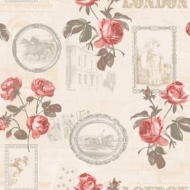 Holden Décor Felicity London Rose Floral Motif Horse Photo Vinyl Wallpaper 11350