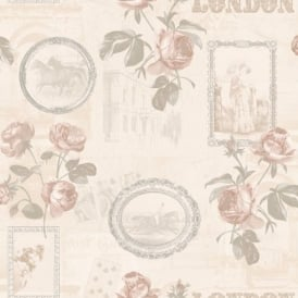 Holden Décor Felicity London Rose Floral Motif Horse Photo Vinyl Wallpaper 11352