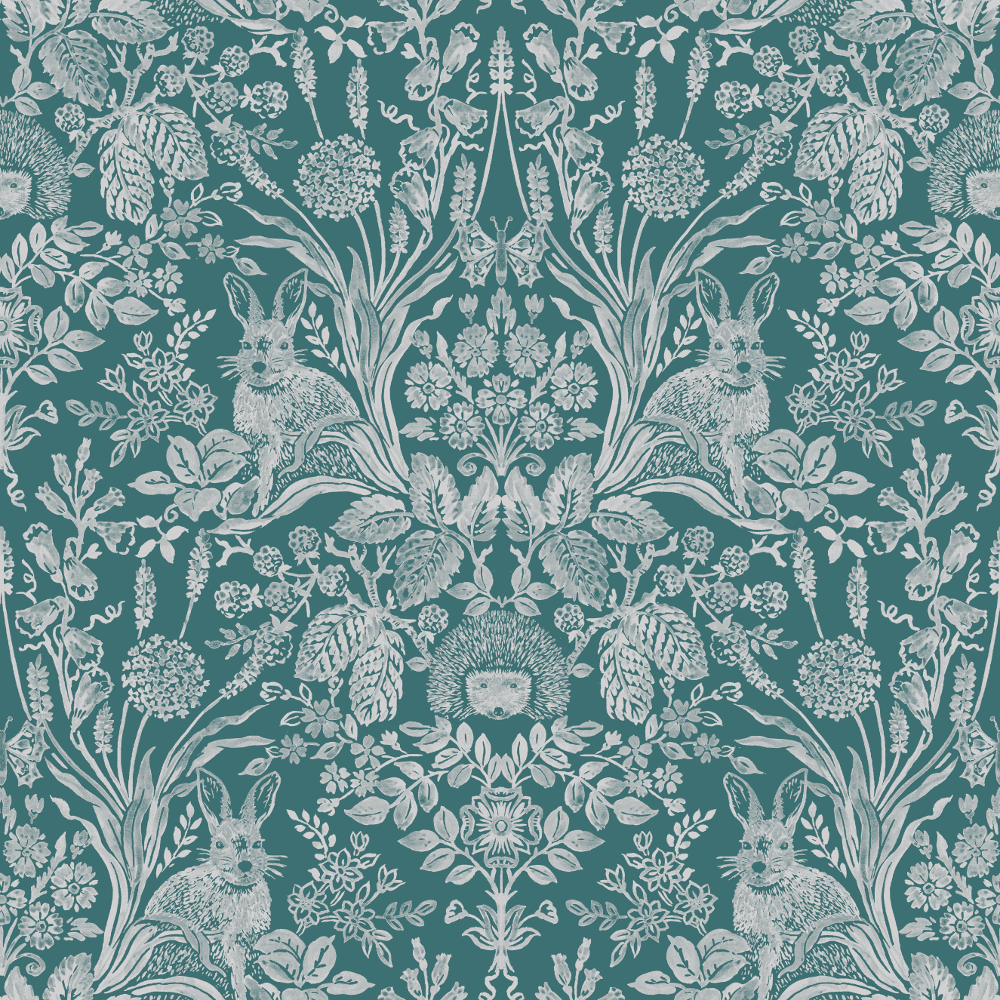 Holden Decor Harlen Damask Woodland Hand Painted Style Animals Flowers Leaves Wallpaper 90805