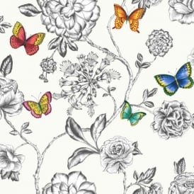Holden Décor Keilena Floral Pattern Butterfly Rose Flower Motif Wallpaper 98420