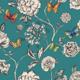 Holden Décor Keilena Floral Pattern Butterfly Rose Flower Motif Wallpaper 98422