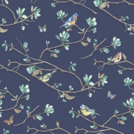 Holden Décor Kira Bird Butterfly Pattern Floral Flower Motif Wallpaper 98120