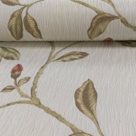 Holden Décor Lia Floral Pattern Flower Twig Motif Embossed Stripe Wallpaper 35173