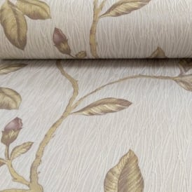 Holden Décor Lia Floral Pattern Flower Twig Motif Embossed Stripe Wallpaper 35174