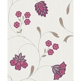 Holden Décor Rico Flower Motif Striped Glitter Textured Blown Vinyl Wallpaper 75611