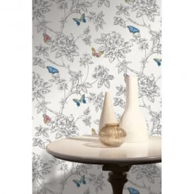 Holden Décor Tahlia Floral Pattern Flower Butterfly Motif Wallpaper 11430