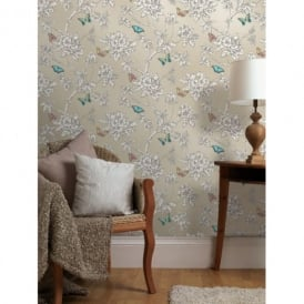 Holden Décor Tahlia Floral Pattern Flower Butterfly Motif Wallpaper 11433