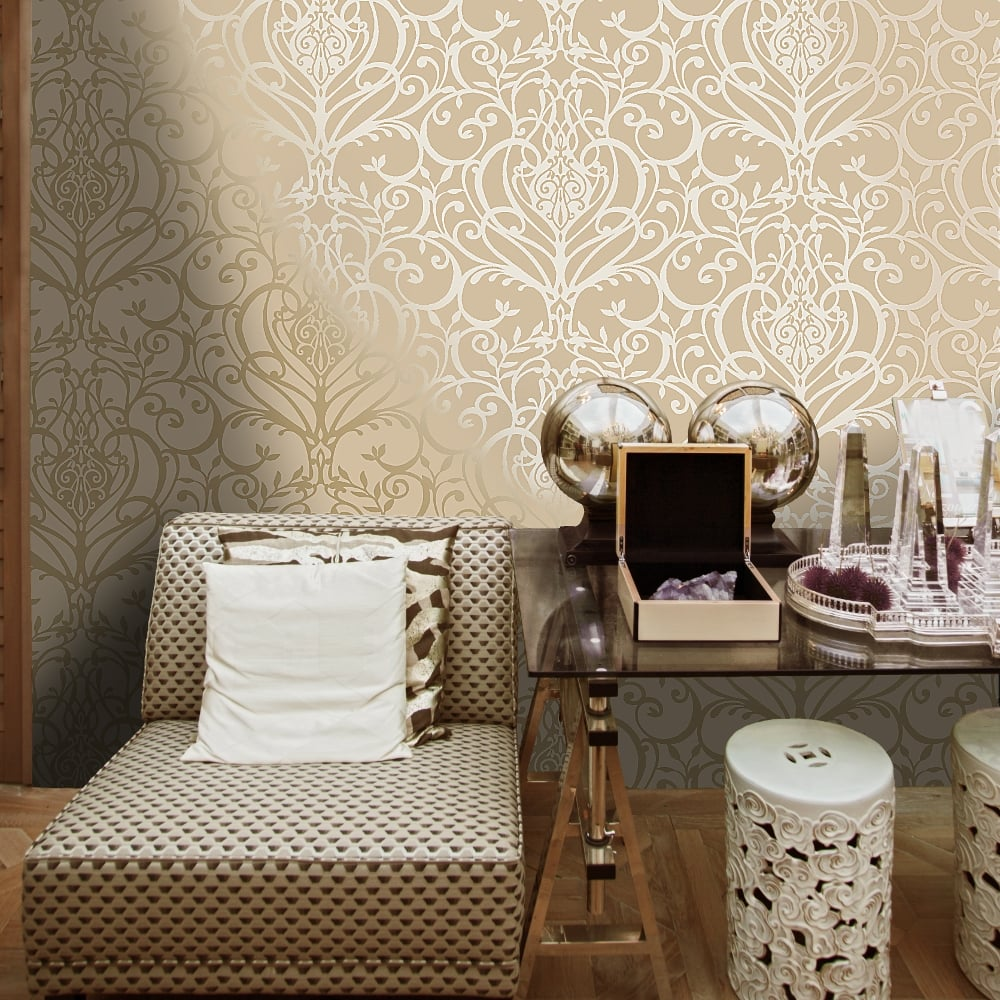 Exclusive Holden Statement Floral Damask Pattern Metallic Textured Wallpaper 50010