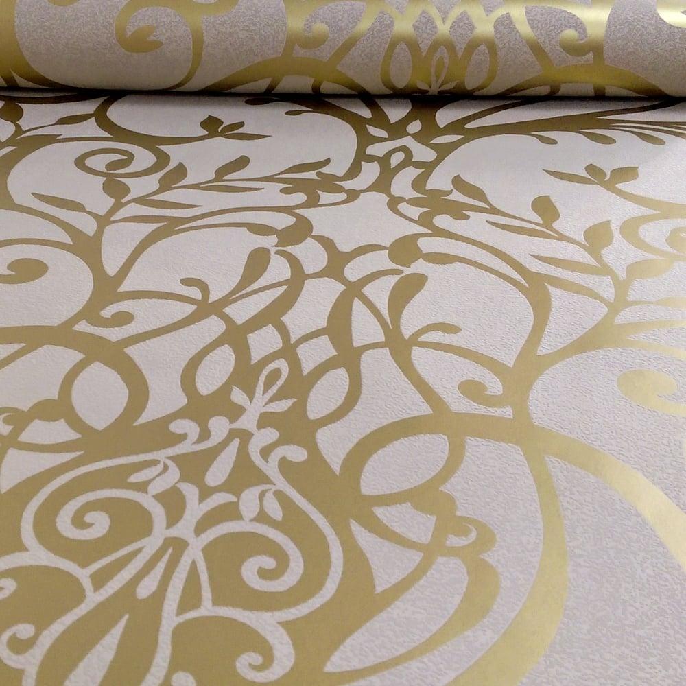 Exclusive Holden Statement Floral Damask Pattern Metallic Textured Wallpaper 50010