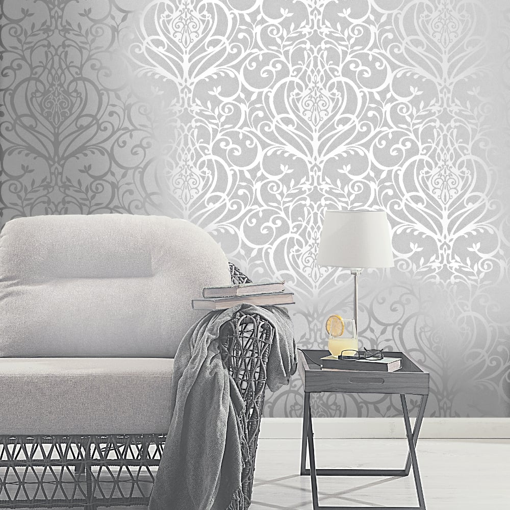 Holden Decor Exclusive Holden Statement Floral Damask Pattern Metallic Textured Wallpaper 50011