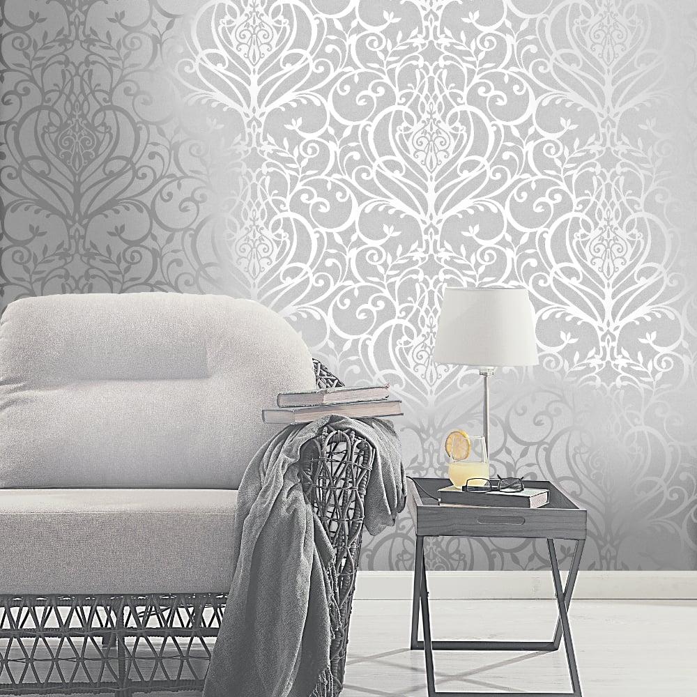 Exclusive Holden Statement Floral Damask Pattern Metallic Textured Wallpaper 50011