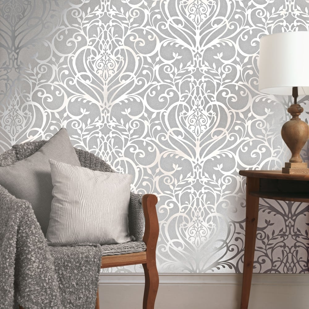 Exclusive holden statement floral damask pattern metallic for Wallpaper decor