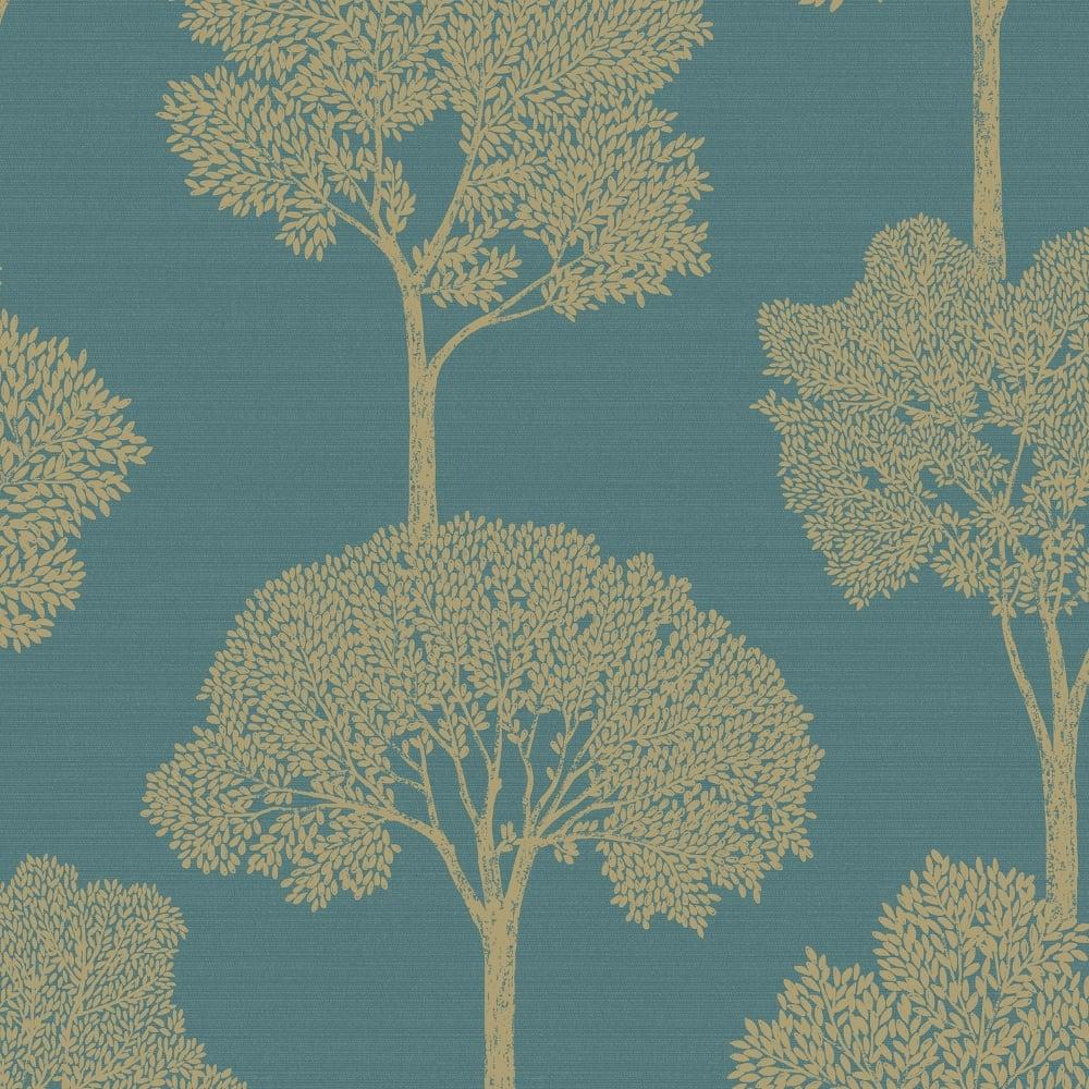 Holden Ambleside Tree Pattern Wallpaper Gold Floral Leaf Metallic Motif 65315