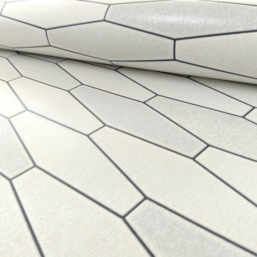 Black White Kitchen Wallpaper: Holden Apex Tile Effect Pattern Wallpaper Marble Glitter