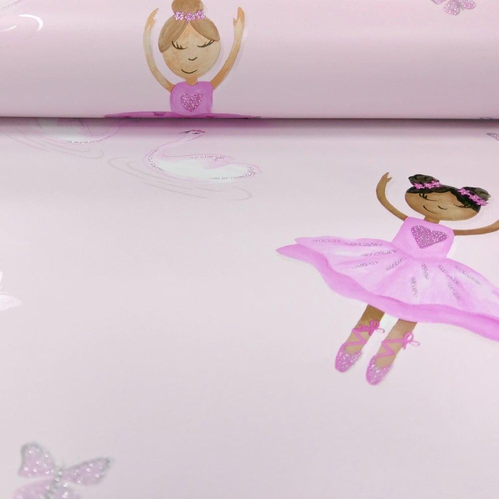 Holden Ballerina Dancer Pattern Childrens Wallpaper Butterfly Hearts Glitter 12460