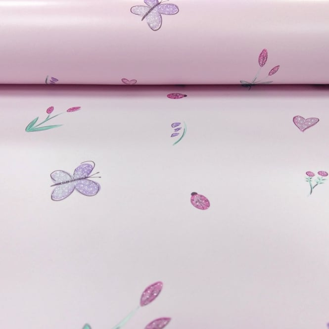 Holden Decor Holden Butterfly Garden Pattern Childrens Wallpaper Ladybird Flower Hearts Glitter 12470