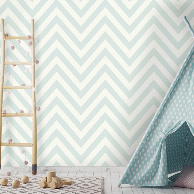 Holden Chevron Striped Pattern Childrens Wallpaper Pastel