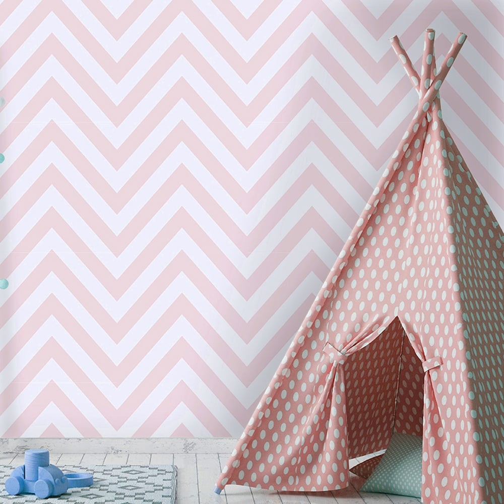 Holden Chevron Striped Pattern Childrens Wallpaper Pastel Stripes Kids Motif 12572