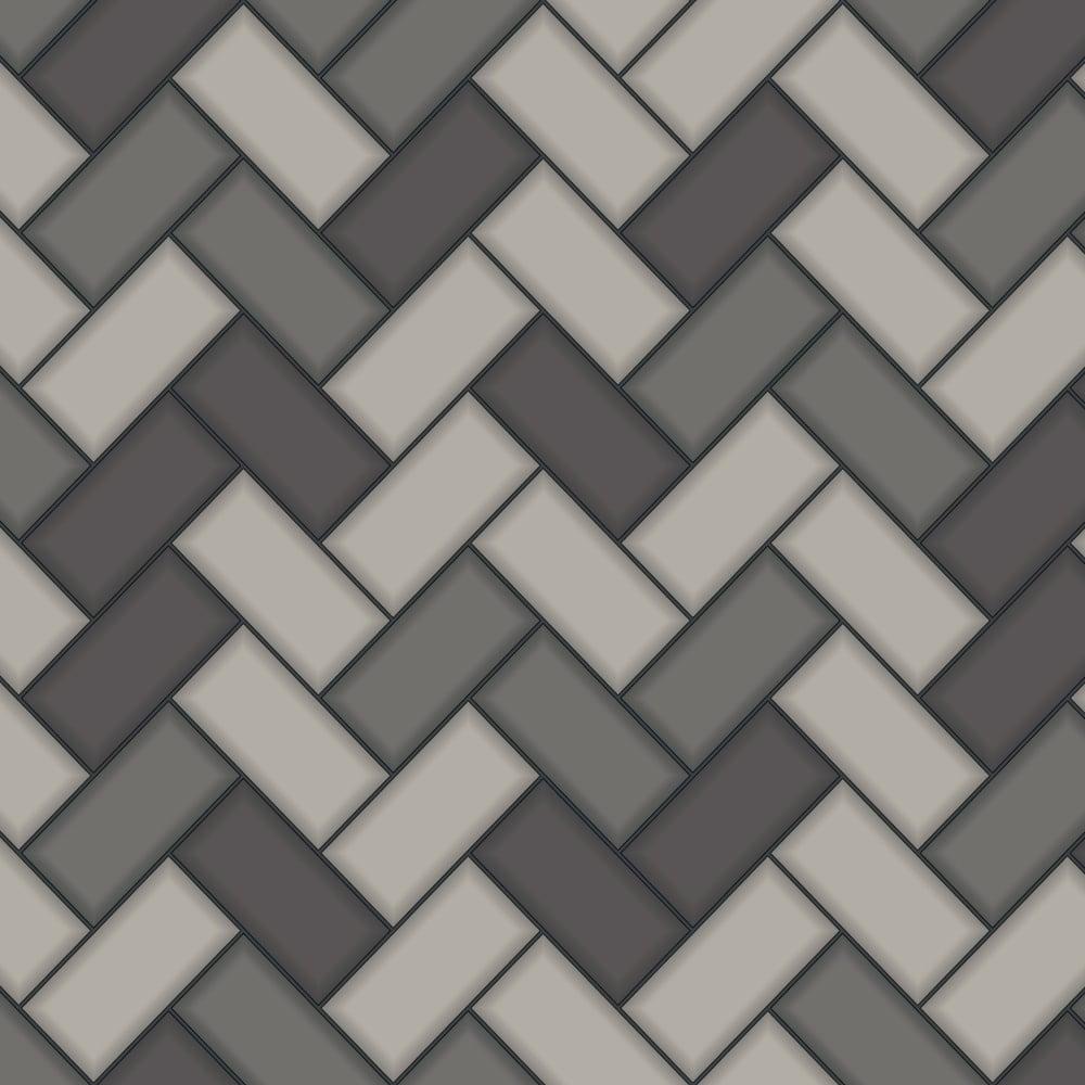 Holden Chevron Tile Pattern Wallpaper Stripe Glitter Faux Effect Kitchen Bathroom 89302