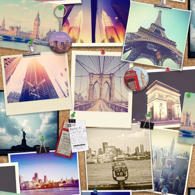Holden Decor Holden City Pinboard Photo Collage Pattern Wallpaper New York London Paris 12060