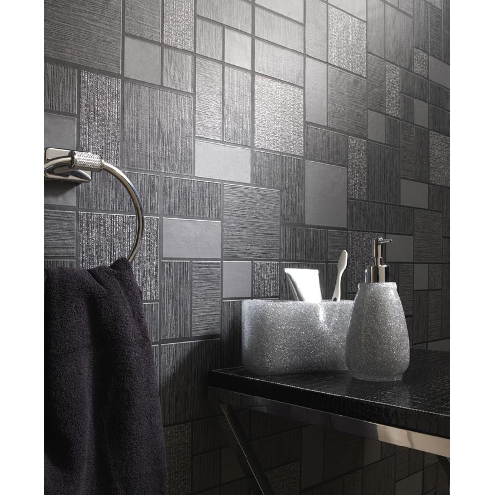 Holden Dcor Tile Pattern Glitter Motif Kitchen Bathroom Vinyl