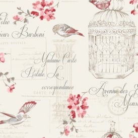 Holden Décor Aviary Birds Floral Motif French Typography Wallpaper 11317