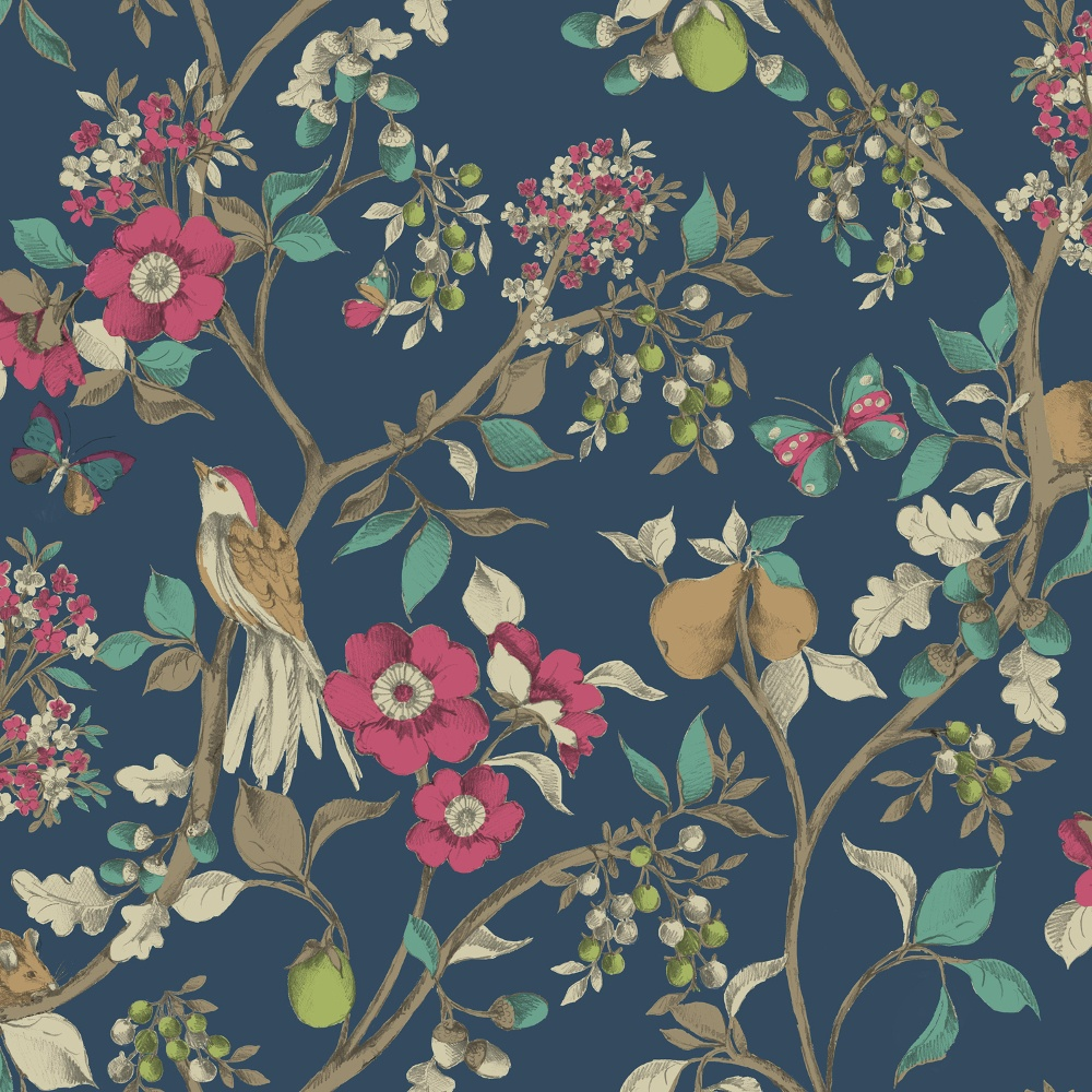 Holden d cor damsen floral pattern bird countryside for Oriental style wallpaper uk