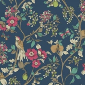 Holden Décor Damsen Floral Pattern Bird Countryside Metallic Gold Wallpaper 98100