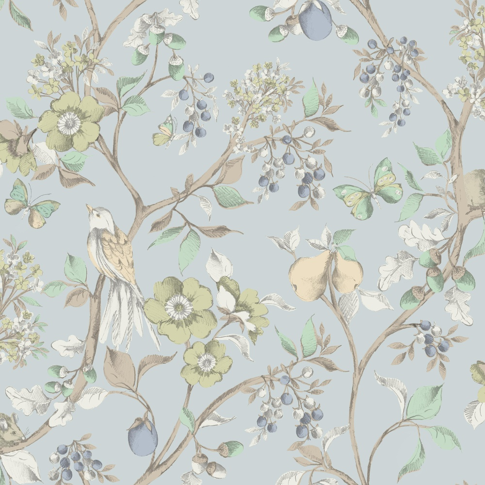 Holden d cor damsen floral pattern bird countryside for Bird wallpaper home decor