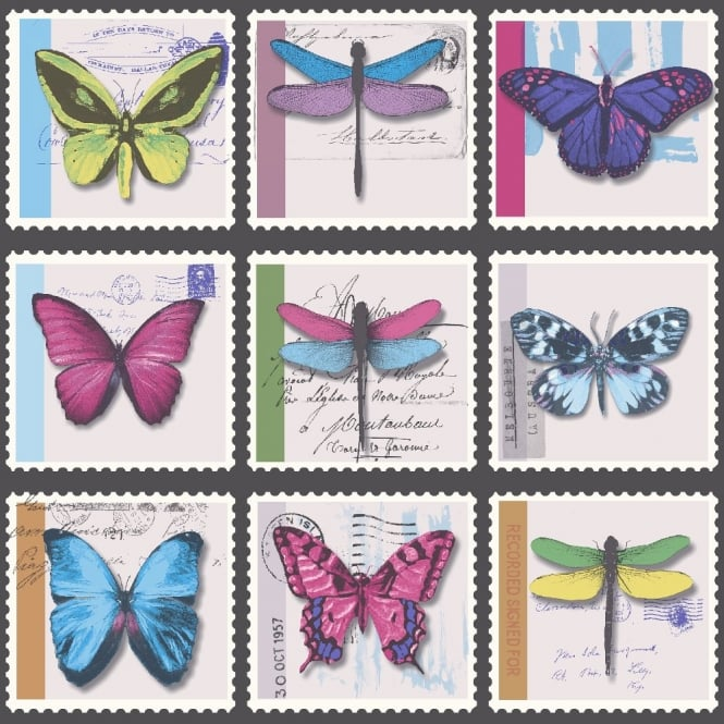 Holden Decor Holden Décor Farfalla Butterfly Dragonfly Stamp Metallic Vinyl Wallpaper 97940