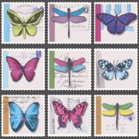 Holden Décor Farfalla Butterfly Dragonfly Stamp Metallic Vinyl Wallpaper 97940