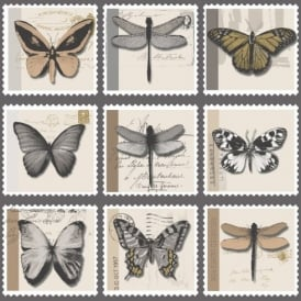 Holden Décor Farfalla Butterfly Dragonfly Stamp Metallic Vinyl Wallpaper 97941