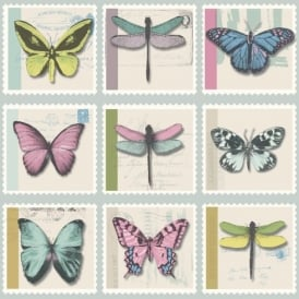 Holden Décor Farfalla Butterfly Dragonfly Stamp Metallic Vinyl Wallpaper 97942