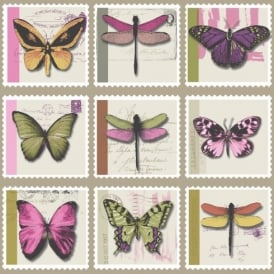 Holden Décor Farfalla Butterfly Dragonfly Stamp Metallic Vinyl Wallpaper 97943