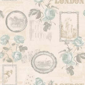 Holden Décor Felicity London Rose Floral Motif Horse Photo Vinyl Wallpaper 11351
