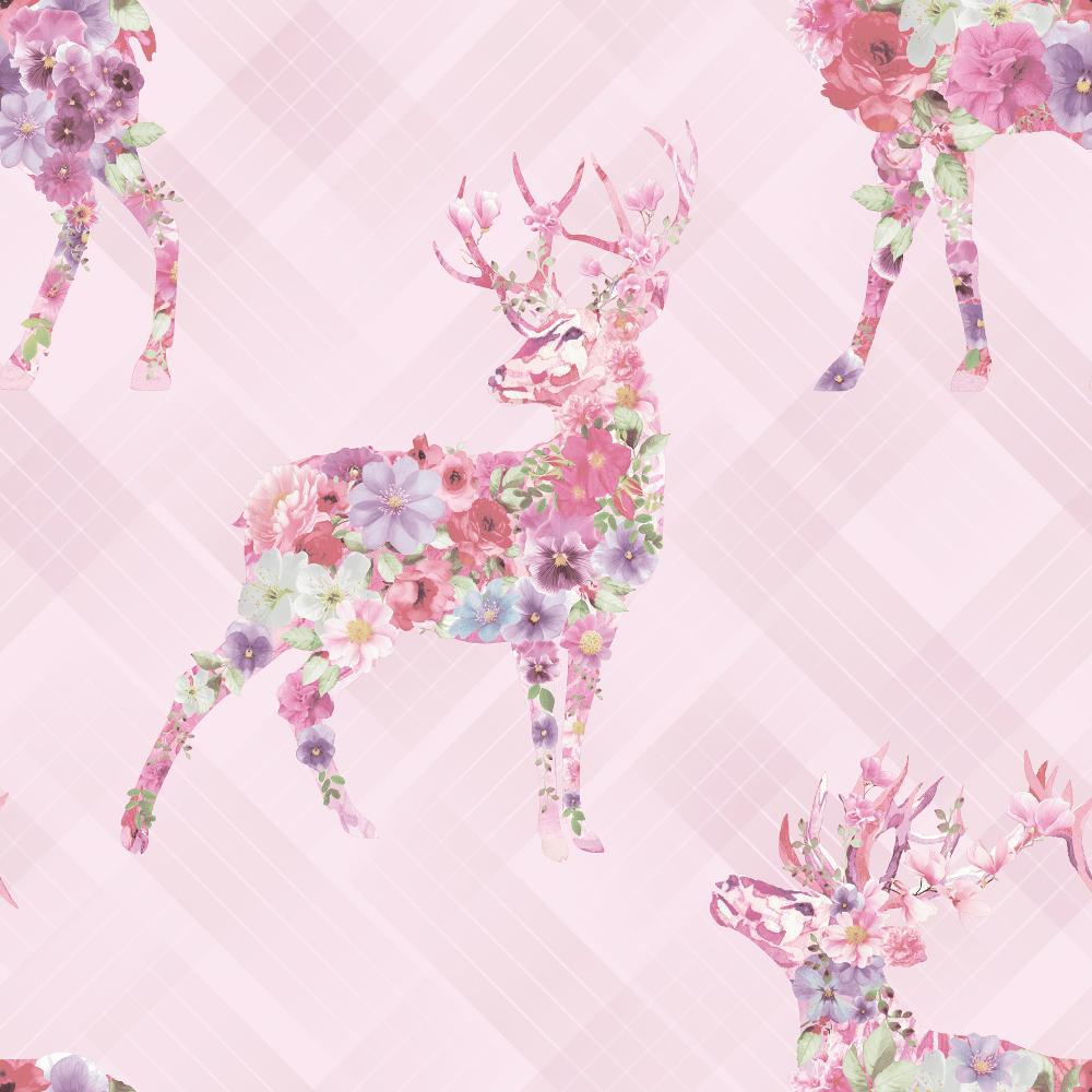holden décor floral elk pink check tartan stag motif